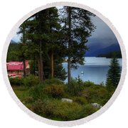Iconic Maligne Lake And Boat House II Round Beach Towel