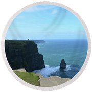 Iconic Needle Rock Formation And The Cliff's Of Moher Round Beach Towel