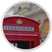 Iconic Postbox And Lyceum Theatre Round Beach Towel