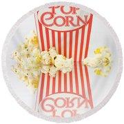 Iconic Striped Popcorn Carton Round Beach Towel