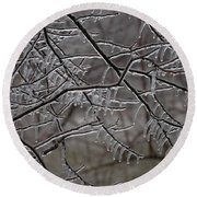 Icy Branches Round Beach Towel