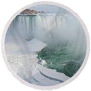 Icy Fury - Niagara Falls Spectacular Ice Buildup Round Beach Towel