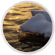 Icy Gold And Silk - Luminous Icicles Reflected On Glossy Water Round Beach Towel