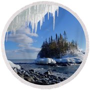 Icy Island View Round Beach Towel