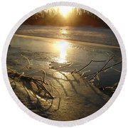 Icy Mississippi River Bank At Sunrise Round Beach Towel