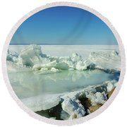Icy Sculptures On Lake Simcoe Round Beach Towel