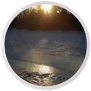 Icy Sunrise Reflection Round Beach Towel