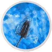 Icy Thistle Plant Round Beach Towel