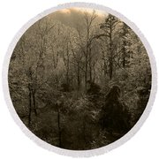 Icy Trees In Sepia Round Beach Towel