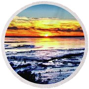 Icy Waters Round Beach Towel