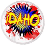 Idaho Comic Exclamation Round Beach Towel