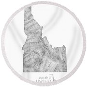 Idaho Map Music Notes Round Beach Towel