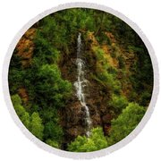 Idaho Springs Waterfall Round Beach Towel