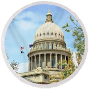 Idaho State Capitol In The Spring Round Beach Towel