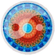 Ideal Balance Yin And Yang By Sharon Cummings Round Beach Towel