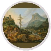 Idealized River Landscape With A Hunting Party Round Beach Towel