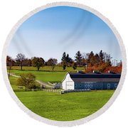 Idyllic Autumn Farm Round Beach Towel