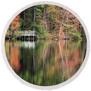 Idyllic Autumn Reflections Round Beach Towel