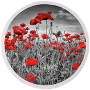 Idyllic Field Of Poppies Colorkey Round Beach Towel