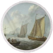 Idyllic Lake Shore With Two Boats Round Beach Towel