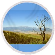 Idyllwild Mountain View With Dead Tree Round Beach Towel