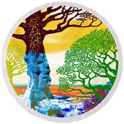 If A Tree Falls In Sicily Color 2 Round Beach Towel