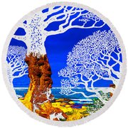 If A Tree Falls In Sicily White Round Beach Towel