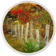 If I Could Paint No 1 - New England Fall Fence Round Beach Towel