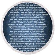If Poem Blue Canvas Round Beach Towel