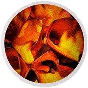 If Van Gogh Painted Calla Lilies Round Beach Towel