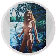 Tribute To The Singer Iggy  Round Beach Towel