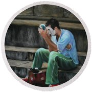 Il Mimo - The Mime Florence Italy Round Beach Towel