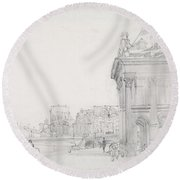 Ile De La Cit? From The Institut, Paris Round Beach Towel