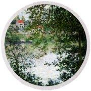 Ile De La Grande Jatte Through The Trees Round Beach Towel by Claude Monet