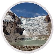 Illampu Glacier Lake Or Laguna Glacial Round Beach Towel