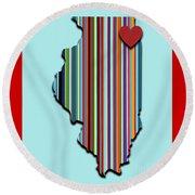 Illinois With Love Geometric Map Round Beach Towel