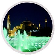 Illuminated Fountain Of Istanbul Round Beach Towel
