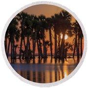 Illuminated Palm Trees Round Beach Towel