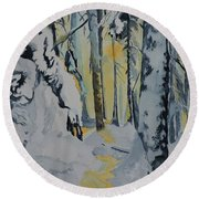 Illuminated Wilderness Round Beach Towel