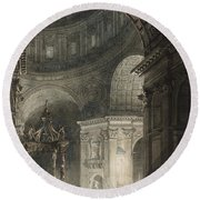 Illumination Of The Cross In St. Peter's On Good Friday, 1787 Round Beach Towel
