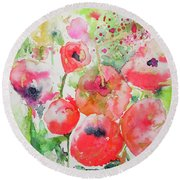 Illusions Of Poppies Round Beach Towel