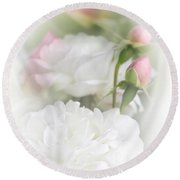 Illusions Of White Roses And Pink Rosebuds Round Beach Towel