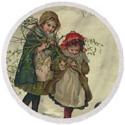 Illustration From Christmas Tree Fairy Round Beach Towel