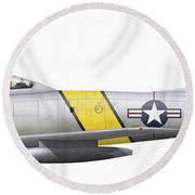 Illustration Of A North American F-86f Round Beach Towel
