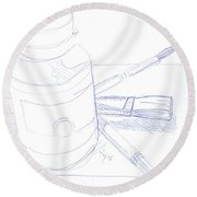 Illustration Of A Paint Pot And Some Artist Brushes - Equipment Check Round Beach Towel