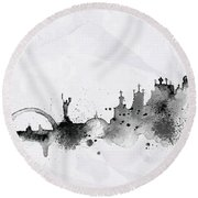 Illustration Of City Skyline - Kiev In Chinese Ink Round Beach Towel