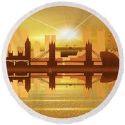 Illustration Of City Skyline - London  Sunset Panorama Round Beach Towel