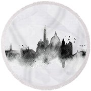 Illustration Of City Skyline - Rome In Chinese Ink Round Beach Towel