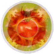 Illustration Of Tomato Round Beach Towel