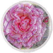 Illustration Rose Pink Round Beach Towel
